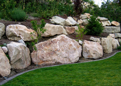 terraced boulder wall